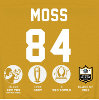 Football, Memes, and Time: MOSS  HALL FAME  PRO FOOTBALL  HALL OF FAME  ENSHRINEE  15,292  REC YDS  (4TH ALL-TIME)  1998  OROY  6  PRO BOWLS  CLASS OF  2018 The @ProFootballHOF got MOSSED. Have a career, @RandyMoss!  #PFHOF18 Enshrinement: Saturday, 7pm ET on @nflnetwork. https://t.co/e8JFJ34N8m