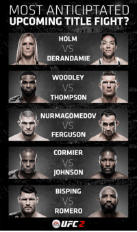 Memes, Ufc, and Ferguson: MOST ANTICIPTATED  UPCOMING TITLE FIGHT?  HOLM  DERANDAMIE  WOODLEY  THOMPSON  NUR MAGOMEDOV  FERGUSON  CORMIER  VS  JOHNSON  BISPING  ROMERO  UFC  2. If you could only watch one...