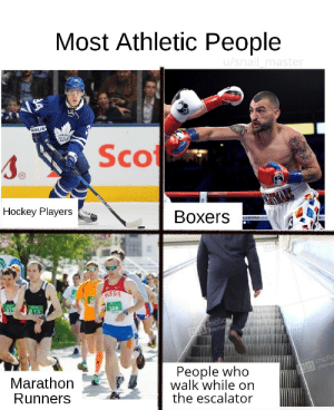 Hockey, Russia, and Marathon: Most Athletic People  u/snail master  MAPE  Scot  Hockey Players  Boxers  CHIVAS  RUSSIA  37  13  308  Dmotion  eleme  G motic  eleme  People who  walk while on  the escalator  Marathon  Runners  BELER Strongest of them all