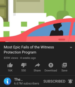 Epic fails: Most Epic Fails of the Witness  Protection Program  839K views · 4 weeks ago  Share  Download  16K  550  Save  The...  SUBSCRIBED  6.67M subscribers Epic fails