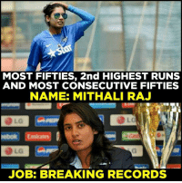 Memes, 🤖, and Job: MOST FIFTIES, 2nd HIGHEST RUNS  AND MOST CONSECUTIVE FIFTIES  NAME: MITHALI RAJ  JOB: BREAKING RECORDS