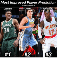 This one was really close between Giannis and Jokic, but I gave The Greek Freak the edge because he made the adjustment of playing point guard, and blossomed from a solid role player to a super star franchise player this year. He's been extremely fun to watch, and there's not really a player you can compare him to because... well he's a freak. He's in the making of being a once in a generation player. On top of that, he's leading his team in all 5 stat categories. • Honorable Mentions: James Johnson, Myles Turner, Devin Booker Bradley Beal and Harrison Barnes - nba nbadebate debate giannisantetokounmpo nikolajokic dennisschroder: Most Improved Player Prediction  IG: @nba debate16  Schroder  Jokic  Giannis  ATLANTA  This one was really close between Giannis and Jokic, but I gave The Greek Freak the edge because he made the adjustment of playing point guard, and blossomed from a solid role player to a super star franchise player this year. He's been extremely fun to watch, and there's not really a player you can compare him to because... well he's a freak. He's in the making of being a once in a generation player. On top of that, he's leading his team in all 5 stat categories. • Honorable Mentions: James Johnson, Myles Turner, Devin Booker Bradley Beal and Harrison Barnes - nba nbadebate debate giannisantetokounmpo nikolajokic dennisschroder