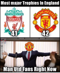 ManUtd fans right now!! 😂🙌 🔺LINK IN OUR BIO!! 😎🔥: Most major Trophies in England  AA  RSCHES  You LLNEVERWALKALONE  LIVERPOOL  FOOTBALL CLUB  42  LONDON  SOCCER  CHES  UNITED  Man Utd Fans Right Now ManUtd fans right now!! 😂🙌 🔺LINK IN OUR BIO!! 😎🔥