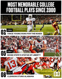Vince Young won a championship with his iconic Rose Bowl run-but that wasn't the most memorable play of this millennium (link in bio): MOST MEMORABLE COLLEGE  FOOTBALL PLAYS SINCE2000  TEXAS  2006  VINCE YOUNG RUNS FOR THE ROSES  STATE  2007  BOISE STATE'S STATUE OF LIBERTY  REN  BR  2017  CLEMSON STUNS ALABAMA Vince Young won a championship with his iconic Rose Bowl run-but that wasn't the most memorable play of this millennium (link in bio)