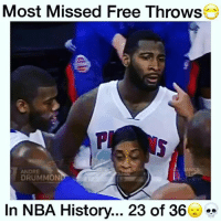 Memes, Andre Drummond, and 🤖: Most Missed Free Throws  ANDRE  DRUMMON  In NBA History... 23 of 36 Andre Drummond missed 23 of 36 Free Throw Attempts! 😂😷 (An NBA Record) - Follow (ME) @cleanestclipz for more! 🏀