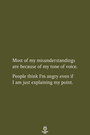 my point: Most of my misunderstandings  are because of my tone of voice.  People think I'm angry even if  I am just explaining my point.  RELATIONSHIP  LES