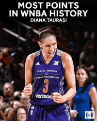 7,489 points and counting. History for DT 💪: MOST POINTS  IN WNBA HISTORY  DIANA TAURASI  CASINO ARIZONA  TALKNG STICK RESORT  Verizon  BR 7,489 points and counting. History for DT 💪