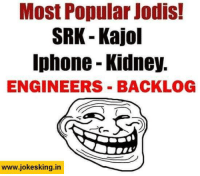 most popular: Most Popular Jodis!  SRK Kajol  Iphone Kidney.  ENGINEERS BACKLOG  www.jokesking in