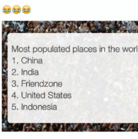 Dank, Friendzone, and China: Most populated places in the worl  1. China  M 2. India  3. Friendzone  el 4. United States  5. Indonesia @x__antisocial_butterfly__x is always posting 🔥🔥🔥