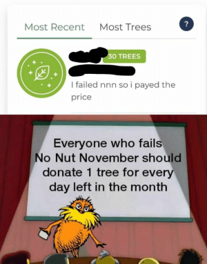 Let's call it Nut4NatureNovember.: ?  Most Recent  Most Trees  30 TREES  I failed nnn so i payed the  price  Everyone who fails  No Nut November should  donate 1 tree for every  day left in the month Let's call it Nut4NatureNovember.