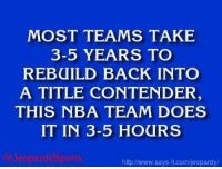 """""""Who are: the San Antonio Spurs?"""" JeopardySports: MOST TEAMS TAKE  3-5 YEARS TO  REBUILD BACK INTO  A TITLE CONTENDER  THIS NBA TEAM DOES  IT IN 3-5 HOURS  Gard US  says it.com/eopardy. """"Who are: the San Antonio Spurs?"""" JeopardySports"""