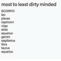 Dirty: most to least dirty minded  SCORPIO  leo  pisces  Capricorn  Virgo  aries  aquarius  gemini  sagittarius  libra  taurus  aquarius