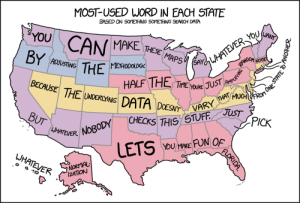 Tumblr, Zoom, and Blog: MOST-USED WORD IN EACH STATE  BASED ON SOMETHING SOMETHING SEARCH DATA  YOU CAN  MAKE THESE  NOSE  ADJUSTING  METHODOLO6%  HALF THE TMES  BECAUSE  THE LARRDAUST  5THIS STUFF J  YoU MAKE FUN OF  UHATEVER.  UH  IZATİON mapsontheweb:Most-used word in each US state.