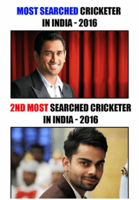 Memes, Cricket, and 🤖: MOSTSEARCHED  CRICKETER  IN INDIA 2016  2ND MOST  SEARCHED CRICKETER  IN INDIA 2016 Captains <3  MS Dhoni , Virat Kohli