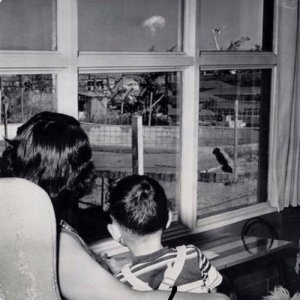 Mother and son watching nuclear testing in Nevada: Mother and son watching nuclear testing in Nevada