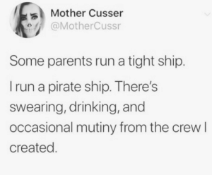 Drinking, Parents, and Run: Mother Cusser  @MotherCussr  Some parents run a tight ship.  Irun a pirate ship. There's  swearing, drinking, and  occasional mutiny from the crew I  created. meirl
