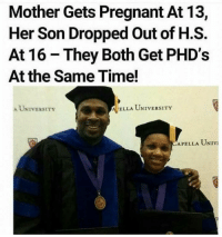 Pregnant, Time, and Amazing: Mother Gets Pregnant At 13,  Her Son Dropped Out of H.S.  At 16 They Both Get PHD's  At the Same Time!  A UNIVERSITY  ELLA UNIVERSITY  APELLA UNIVI Amazing🙌