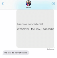 Jewish, Charmed, and Charm: Mother  I'm on a low carb diet.  Whenever I feel low, I eat carbs  Delivered  Me too. It's very effective. works like a charm! (via @sobasicicanteven) crazyjewishmom