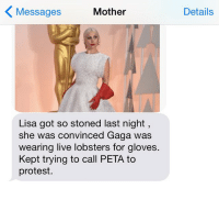crazyjewishmom lobstergloves gaga oscars: Mother  Messages  Lisa got so stoned last night,  she was convinced Gaga was  wearing live lobsters for gloves  Kept trying to call PETA to  protest.  Details crazyjewishmom lobstergloves gaga oscars