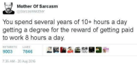 severance: Mother of Sarcasm  @Sarcasm Mother  You spend several years of 10+ hours a day  getting a degree for the reward of getting paid  to work 8 hours a day.  LIKES  RETWEETS  9003  7846  7:35 AM 20 Aug 2016