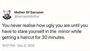 Haircut, Memes, and Ugly: Mother Of Sarcasm  @SarcasmMother  You never realise how ugly you are until you  have to stare yourself in the mirror while  getting a haircut for 30 minutes.  10:51 PM Dec 8, 2018