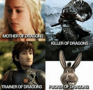 Dragons, Dragon, and Mother: MOTHER OFDRAGONS  KILLER OF DRAGONS  TRAINER OF DRAGONS  OFD  AGONS Hey Dragon, want sum fuk?