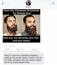 I mean, this is pretty stupid. crazyjewishmom: Mother  There Are Christmas Ornaments  For Beards Now  Now you can decorate your tree  and your beard  3K Likes 2K Comments  Like  Comment  Share  Omg. If I see one ur Brooklyn hipsters  wearing this on the street, l swear I will rip  his filthy artisanal craft wax styled beard  off of his stupid hipster face I mean, this is pretty stupid. crazyjewishmom