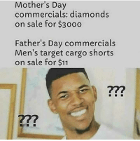 "<p>Father&rsquo;s Day via /r/memes <a href=""https://ift.tt/2JMAie3"">https://ift.tt/2JMAie3</a></p>: Mother's Day  commercials: diamonds  on sale for $3000  Father's Day commercials  Men's target cargo shorts  on sale for $11  722  722 <p>Father&rsquo;s Day via /r/memes <a href=""https://ift.tt/2JMAie3"">https://ift.tt/2JMAie3</a></p>"