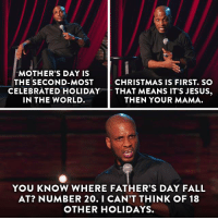 Tis the season for Ali Siddiq on The Half Hour.: MOTHER'S DAY IS  THE SECOND-MOST  CHRISTMAS IS FIRST. SO  CELEBRATED HOLIDAY  THAT MEANS IT'S JESUS  IN THE WORLD  THEN YOUR MAMA.  YOU KNOW WHERE FATHER'S DAY FALL  AT? NUMBER 20. I CAN'T THINK OF 18  OTHER HOLIDAYS. Tis the season for Ali Siddiq on The Half Hour.