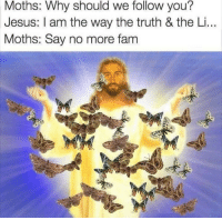 Fam, Jesus, and Say No More: Moths: Why should we follow you?  Jesus: I am the way the truth & the Li...  Moths: Say no more fam Jesus Fam