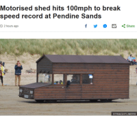 "Break, Record, and Speed: Motorised shed hits 100mph to break  speed record at Pendine Sands  O 2 hours ago  くShare  STRAIGHTLINERS <p>B R I T A I N via /r/wholesomememes <a href=""https://ift.tt/2rDSzm6"">https://ift.tt/2rDSzm6</a></p>"