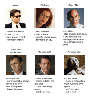 spill-the-stars: Tag yourself: X-Files edition I'm Mouldy : Mouldy  Starbuck  Skinny Man  -mom friend  - stale cinnamon roll, been  - has like two friends  - small but fierce  - loves science  trusts no one  in this world too long  - strong eyebrow game  -honestly just wants to  sleep  - always down to fight  - believes in cryptids  - beautiful beyond words  - definitely a bit gay  Take a fuckin  Surprise, bitch  An actual alien  smoke, babe  - absolute trash  - the Most Dramatic  stoner friend  is sick of hearing how  much everyone loves  passes out after one  jello shot  - doesn't like being  - never invited but always  seems to be there  -not fun at parties  - has all the gossip  space  outside  - won't text back  - chaotic bisexual  - bad at math spill-the-stars: Tag yourself: X-Files edition I'm Mouldy