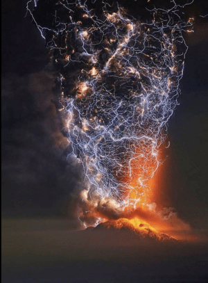 Mount Cabulco volcano in Chile erupting with flashes of lightning taken by time lapse photograph.: Mount Cabulco volcano in Chile erupting with flashes of lightning taken by time lapse photograph.