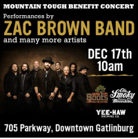 Memes, Music, and Yee: MOUNTAIN TOUGH BENEFIT CONCERT  Performances by  ZAC BROWN BAND  and many more artists  DEC 17th  10am  Ole,  MUSIC City  LIVEFROM THE FACTORY  Moonshine,  YEE-HAW  BREWING CO.  705 Parkway, Downtown Gatlinburg Gatlinburg, Tennessee is open for business & welcoming visitors! We'll be there playing the #MountainTough Benefit Show this Saturday, December 17. You can donate to continuing fire relief efforts here: http://bit.ly/DonateETF