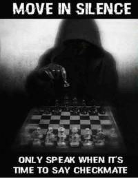 checkmate: MOVE IN SILENCE  ONLY SPEAK WHEN ITS  TIME TO SAY CHECKMATE
