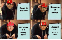Race, Driver, and Move: Move to  Sauber  Become  #1  driver  LEC-GIOo  1-2  every  race  LEC-GIOo  1-2  every  race