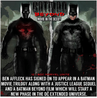 Batman, Definitely, and Future: MOVIE IN THE DCEU!?  GDCMRVEL UNITE  BEN AFFLECK HAS SIGNED ON TO APPEAR IN A BATMAN  MOVIE TRILOGY ALONG WITH A JUSTICE LEAGUE SEQUEL  AND A BATMAN BEYOND FILM WHICH WILL START A  NEW PHASE IN THE DC EXTENDED UNIVERSE 🚨 DCEU RUMOR ! 🚨Well…@BenAffleck is definitely not leaving the role of Batman anytime soon. 🤷🏽♂️ According to a source from WarnerBros… BenAffleck has signed on for Multiple New DCFilms including a MattReeves Trilogy for ' TheBatman', a JusticeLeague Sequel and a Possible BatmanBeyond Movie in the far future to kickstart a New Phase in the DCExtendedUniverse ! 😱 Thoughts!? 🦇
