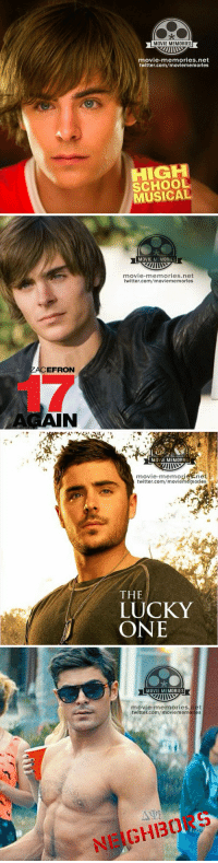 Memes, Zac Efron, and 🤖: MOVIE MEMORIES  movie-memories.net  twitter.com/moviememories  CH  MUSICAL   EFRON  AGAIN  MOVIE MEMORIES  movie memories.net  twitter.com/moviememories   MOVIE MEMORIE  IIIMO  movie-memories ne  twitter.com/moviememorlest  THE  LUCKY  ONE   MOVIE MEMORIES  movie memories net  twitter.com/moviememorles  NEIGHI30 Zac Efron throughout the years! 😍😍😍