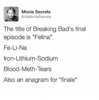 """This is just another example of why Breaking Bad is the best show of all time. There is no argument. That is all: Movie Secrets  @itsMovieSecrets  The title of Breaking Bad's final  episode is """"Felina""""  Fe-Li-Na  Iron-Lithium-Sodium  Blood-Meth-Tears  Also an anagram for """"finale"""" This is just another example of why Breaking Bad is the best show of all time. There is no argument. That is all"""