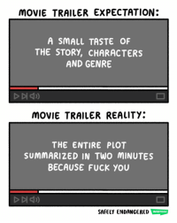 🌝: MOVIE TRAILER EXPECTATION:  A SMALL TASTE OF  THE STORY, CHARACTERS  AND GENRE  MOVIE TRAILER REALITY:  THE ENTIRE PLOT  SUMMARIZED IN TWO MINUTES  BECAUSE FUCK YOU  SAFELY ENDANGERED WEBTOON 🌝