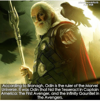 America, Memes, and Superhero: moviefacts  According to Branagh, Odin is the ruler of the Marvel  Universe. It was Odin that hid the Tesseract in Captain  America: The First Avenger, and the Infinity Gauntlet in  The Avengers. Villains tonystark ironman marvel RDJ hulk avengers comics thor sciencebros marvelmovies blackwidow hawkeye captainamerica starkindustries steverogers teamstark teamcap robertdowneyjr geek superhero superheroes ironman1 ironman2 ironman3 gaurdiansofthegalaxy captainamericacivilwar civilwar marvelcomics marveluniverse