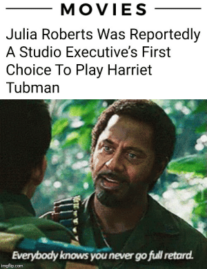 You never, ever do it...: MOVIES  Julia Roberts Was Reportedly  A Studio Executive's First  Choice To Play Harriet  Tubman  Everybody knows you never go full retard.  imgflip.com You never, ever do it...