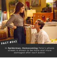 Memes, Movies, and Netflix: MOVIES  MY  TRIT  FACT #542  In Spiderman: Homecoming Peter's phone  screen is shown to be more and more  damaged after each battle What was your favourite thing about Homecoming that made it different from other Spider-Man movies? Pics of the screen as it gets worse 😂 👇http:-bit.ly-2zSfkJ2 🎥 • • • • Double Tap and Tag someone who needs to know this 👇 All credit to the respective film and producers. movie movies film tv camera cinema fact didyouknow moviefacts cinematography screenplay director actor actress act acting movienight hollywood netflix didyouknowmovies riverdale