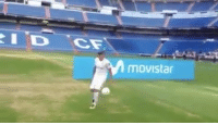 Memes, Real Madrid, and 🤖: movistar Theo Hernandez keepy-uppies at his Real Madrid unveiling didn't go very well 🙈🙉🙊