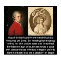 "Savage: Mozart disliked a performer named Adriana  Ferrarese del Bene. So, knowing her tendency  to drop her chin on low notes and throw back  her head on high ones, Mozart wrote a song  with constant leaps from low to high in order to  make her head ""bob like a chicken"" on stage. Savage"