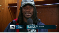 .@TG3II has been on on absolute tear. Could he be the NFL MVP?  @DeionSanders says it's a tight race between Gurley and one other player ... 🤔🤔🤔 https://t.co/HLkrfSbgWv: MPi  R. Todd  Gurley  19 total TD this season  Leads NFL .@TG3II has been on on absolute tear. Could he be the NFL MVP?  @DeionSanders says it's a tight race between Gurley and one other player ... 🤔🤔🤔 https://t.co/HLkrfSbgWv
