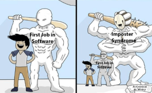 Software, Job, and Can: mposter  Syndrome  First Job in  Software  First Job in  Spfeware  As Crônicas  de Wesiey You cant know it all, just remember that