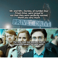 Driving, Memes, and Drive: Mr. and Mrs. Dursley, of number four  Privet Drive, were proud to  say that they were perfectly normal,  thank you very much.  PRIVET DRI  THE WIZARD S  The scar had not pained him in  nineteen years All Waswel. First and last sentence of the series 💚 + New ish theme! — What's your zodiac? I'm Sagittarius 🌙 harrypotter jkrowling hp hogwarts @magicwands @harrypotterology