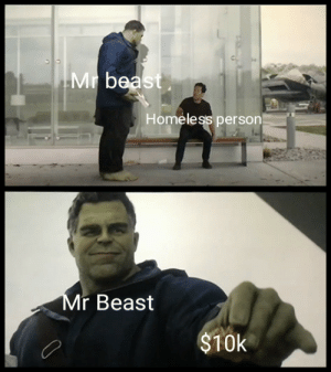 Mr wholesome: Mr bea  Homeless person  r Beast  $10k Mr wholesome