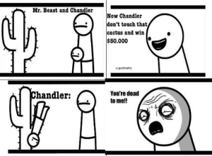 True, Beast, and Cactus: Mr. Beast and Chandler  Now Chandler  don't touch that  cactus and win  $50.000  ugodmathy  Chandler:  You're dead  to me!! only true OG's will remember